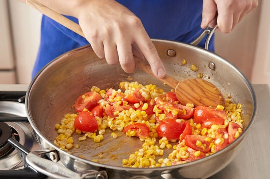 Cook the corn & tomatoes: