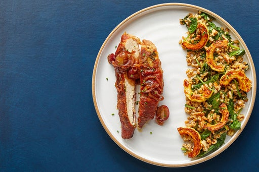 Chicken Saltimbocca & Grape Pan Sauce with Farro, Spinach & Delicata Squash