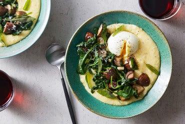 Creamy Polenta & Mushrooms with Soft-Boiled Eggs & Grana Padano Cheese