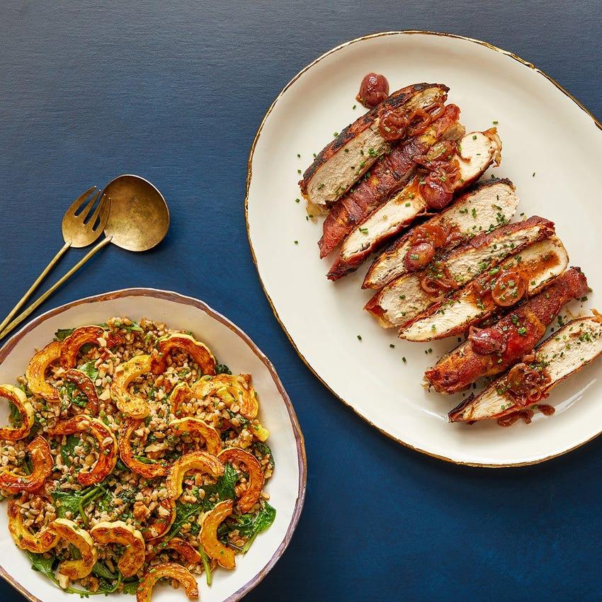 Chicken Saltimbocca & Grape Pan Sauce with Farro, Spinach & Delicata Squash