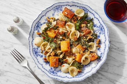 Butternut Squash & Orecchiette with Kale & Brown Butter Walnuts