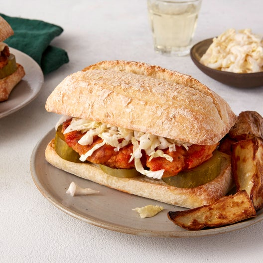 Spicy Chicken Sandwiches with Napa Cabbage Slaw & Roasted Potato Wedges