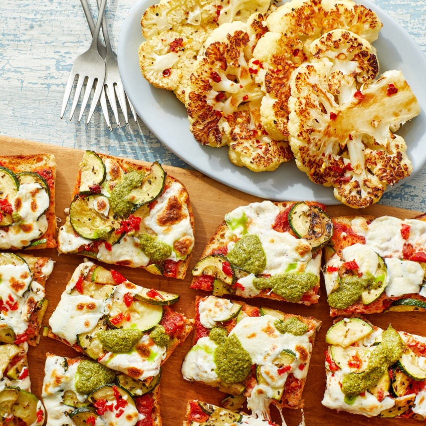 Zucchini & Pesto Focaccia Pizza with Hot Honey Cauliflower