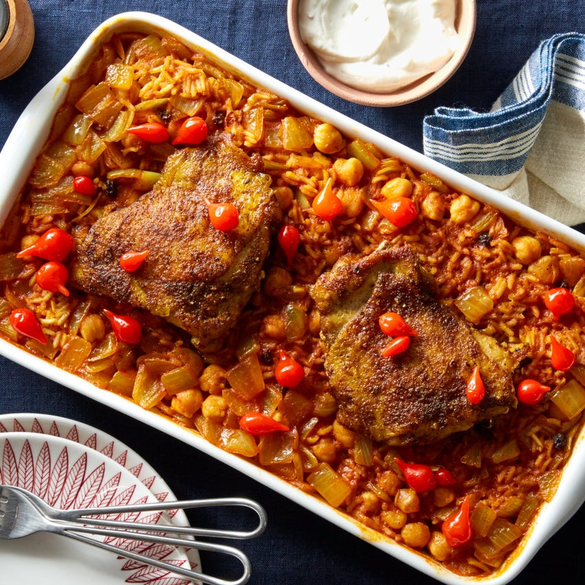 Middle Eastern Baked Chicken Thighs & Rice with Chickpeas & Yogurt