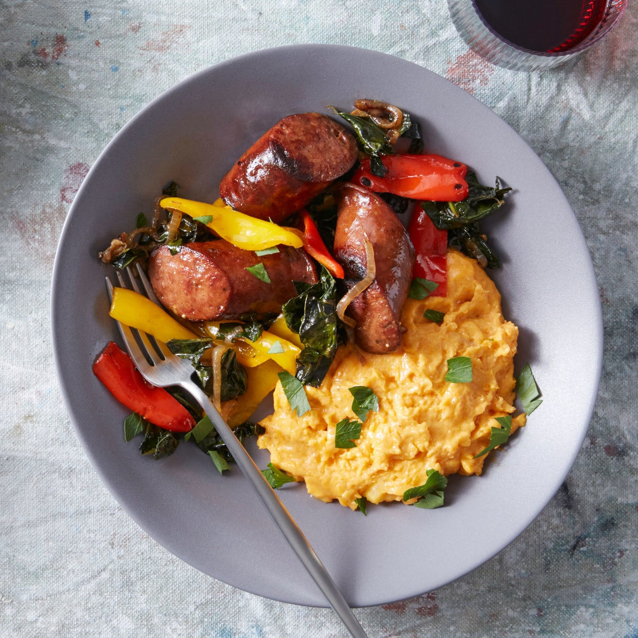 Viennese Beef Sausages with Cheesy Mashed Sweet Potato