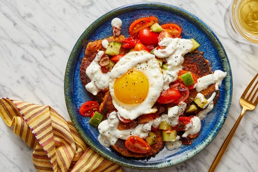 Middle Eastern Squash & Chickpea Patties with Fried Eggs & Tzatziki