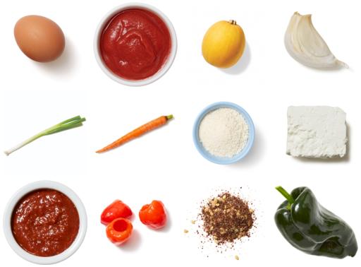 Spaghetti Squash, Pepper & Carrot Shakshuka with Za'atar Breadcrumbs & Feta Cheese