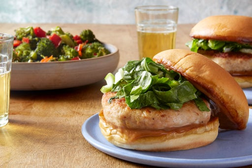 Ginger Chicken Burgers with Hoisin Mayonnaise & Roasted Broccoli