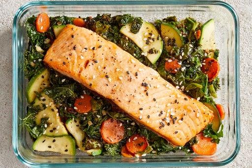 Finish & Serve the Roasted Salmon & Veggies
