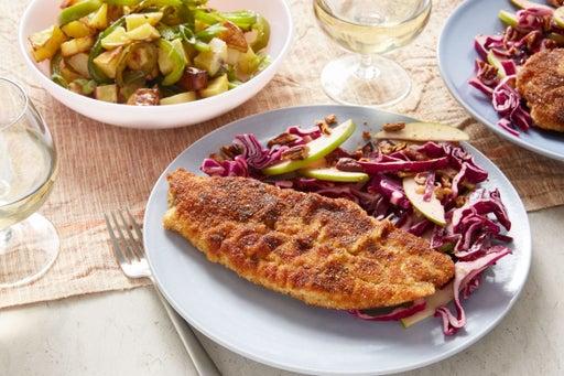 Crispy Spiced Catfish & Potato Salad with Cabbage, Apple, & Pecan Slaw