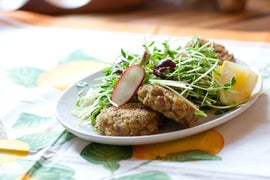 "Baked Quinoa ""Falafels"" with Radish & Pea Shoot Salad"