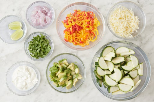 Prepare the remaining ingredients & make the lime sour cream: