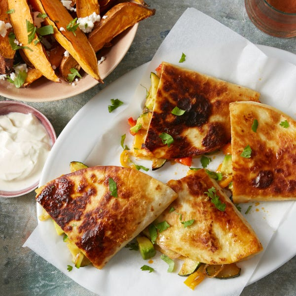 Summer Vegetable Quesadillas with Roasted Sweet Potatoes & Lime Sour Cream