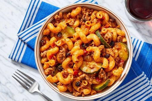 Savory Turkey & Cavatappi Pasta with Zucchini, Onion & Currants