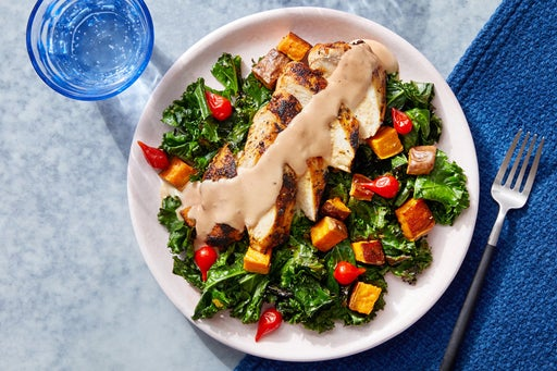 Tahini-Dressed Chicken & Kale with Pickled Peppers & Roasted Sweet Potato