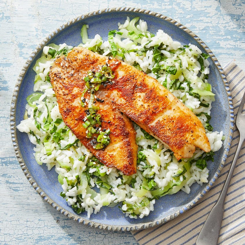 Honey-Lime Tilapia with Bok Choy & White Rice