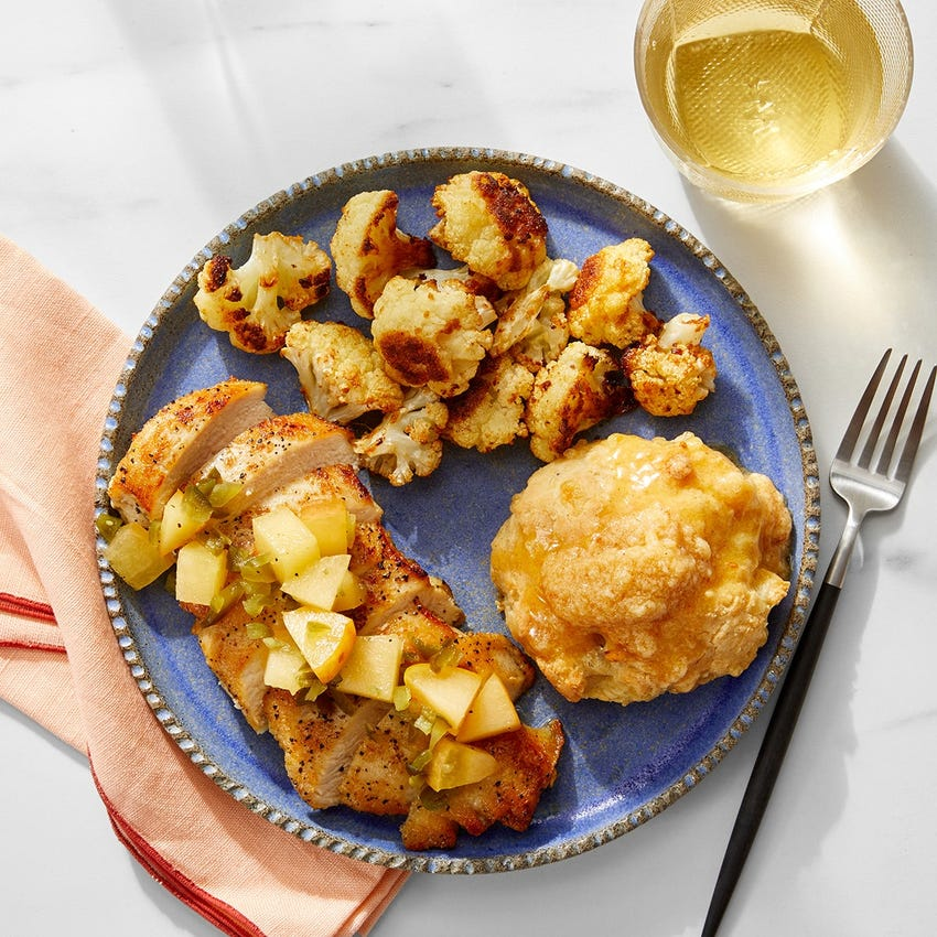 Seared Chicken & Spicy Apple with Cheddar Biscuits & Spiced Honey Butter
