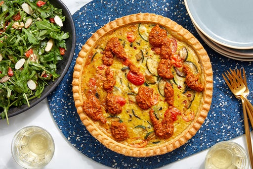 Zucchini & Tomato Quiche with Romesco Sauce & Arugula Salad