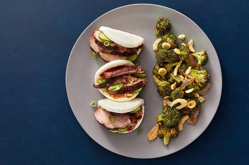 Togarashi Duck Steam Buns with Hoisin Mayo & Soy-Miso Broccoli