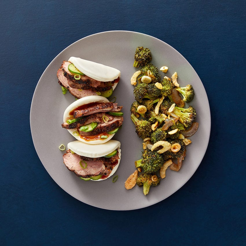 Togarashi Duck Steam Buns with Hoisin Mayo & Soy-Miso Broccoli