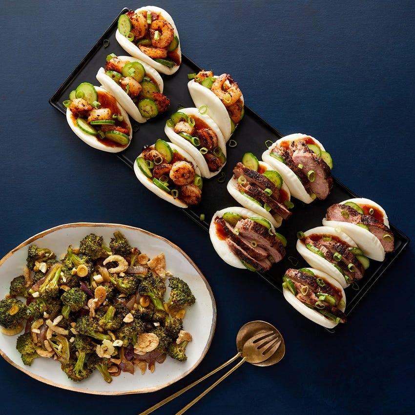 Togarashi Duck & Shrimp Steam Buns with Hoisin Mayo & Soy-Miso Broccoli