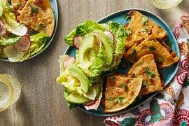 Spicy Poblano & Mushroom Quesadillas with Baby Romaine & Avocado Salad