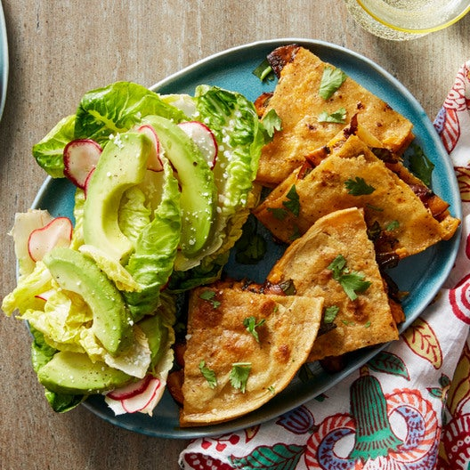 Spicy Poblano & Mushroom Quesadillas with Baby Romaine & Avocado Salad