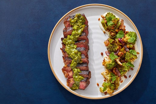 Mexican Strip Steaks & Jalapeño-Cilantro Sauce with Chile-Lime Vegetables & Toasted Pepitas