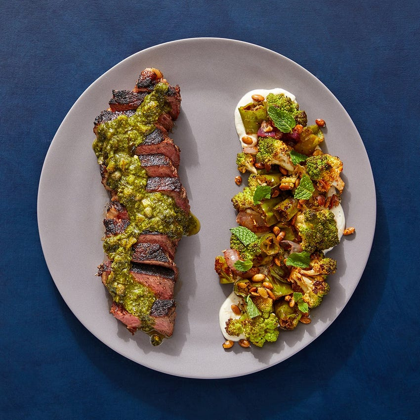 Mexican Strip Steaks & Jalapeño-Herb Sauce with Chile-Lime Vegetables & Toasted Pepitas