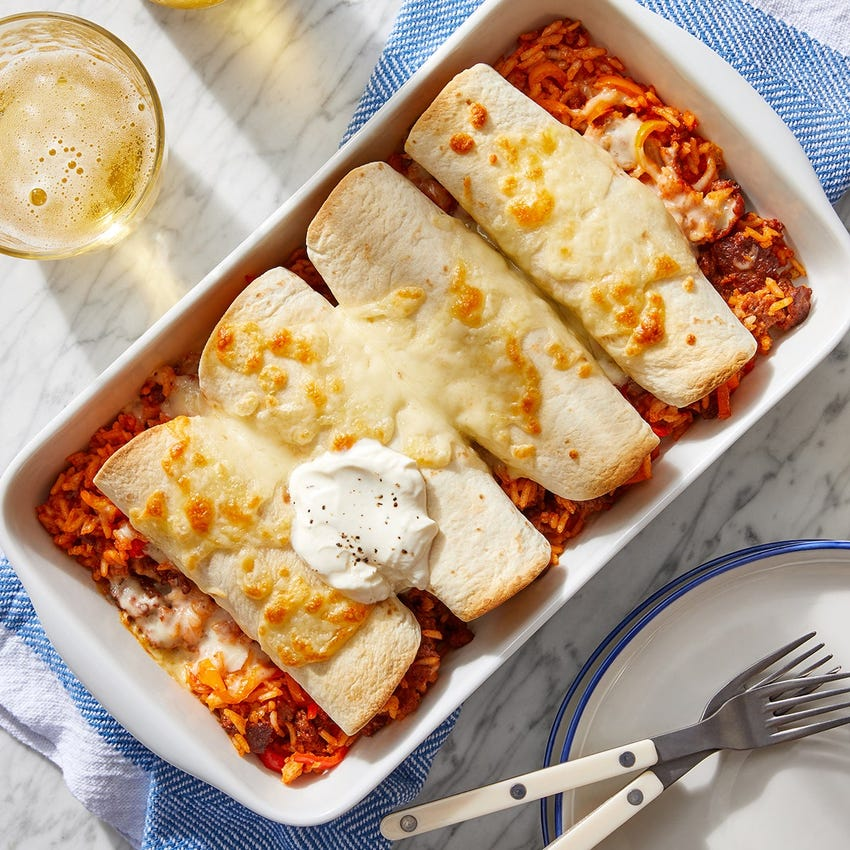 Cheesy Pork Chorizo Enchiladas with Shishito Peppers & Rice