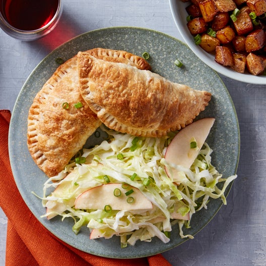 Barbecue Chicken Turnovers with Cone Cabbage & Apple Slaw