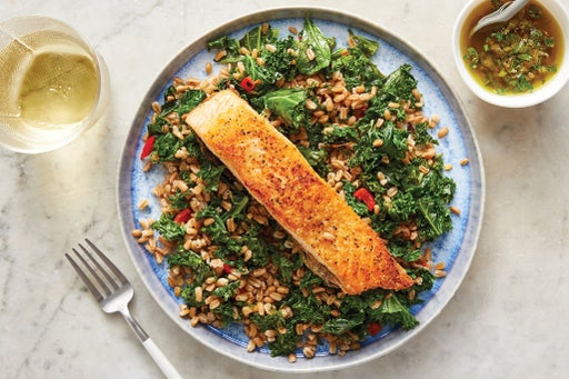 Seared Salmon & Salsa Verde with Farro, Kale & Pickled Peppers