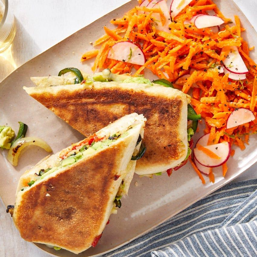 Avocado & Poblano Tortas with Carrot-Radish Slaw