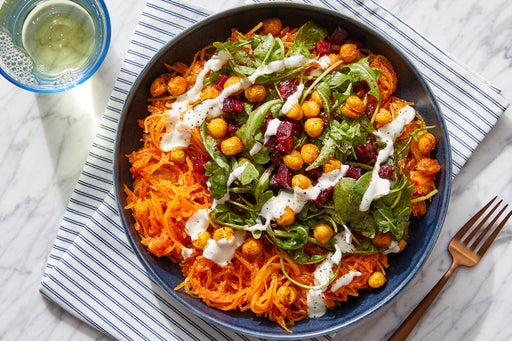 Harissa Squash & Chickpea Bowls with Arugula, Beets & Labneh