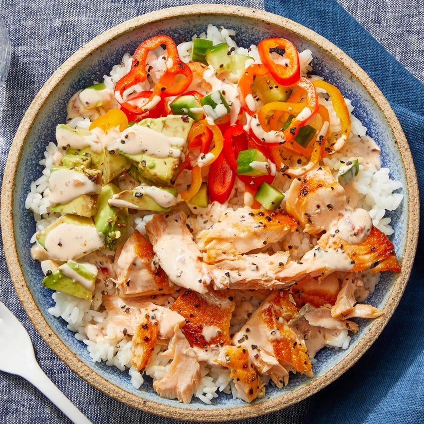 Salmon & Avocado Rice Bowls with Marinated Vegetables & Spicy Mayo