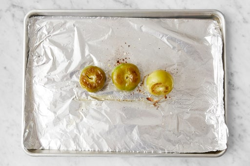 Prepare & roast the tomatillos:
