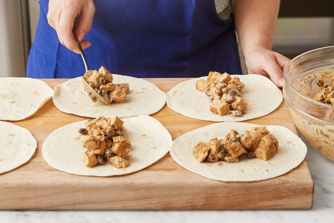 Make the filling & assemble the enchiladas: