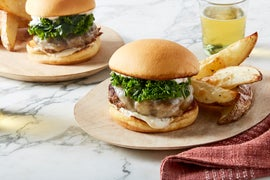 Provolone Cheeseburgers & Marinated Kale with Rosemary Roasted Potatoes