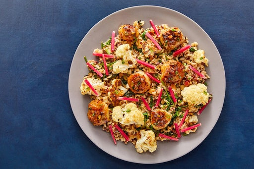 Seared Scallops & Pistachio-Butter Pan Sauce with Rosemary-Roasted Cauliflower & Red Rice Salad