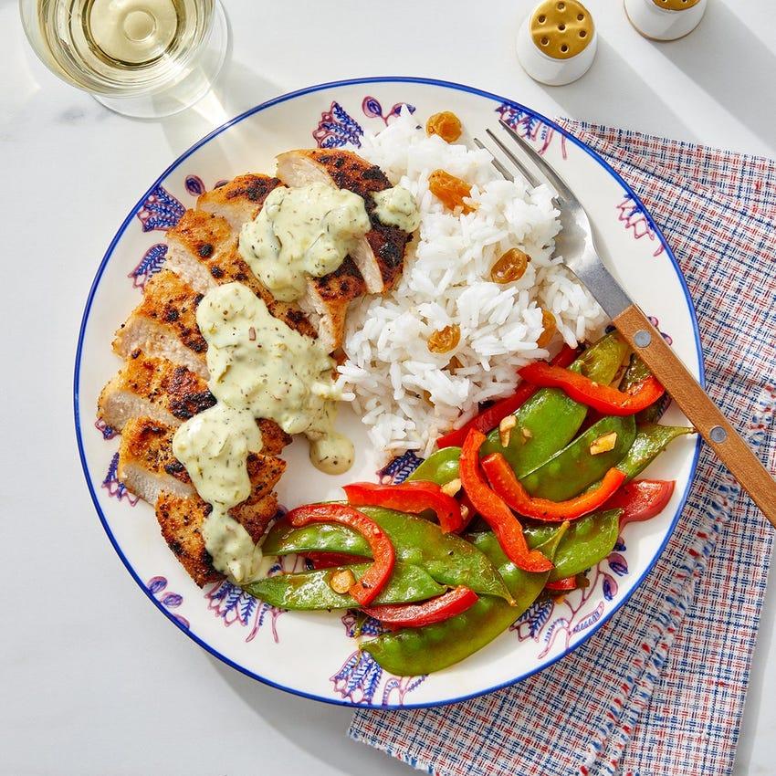 Southern Chicken & Creamy Relish with Sautéed Snow Peas & Rice