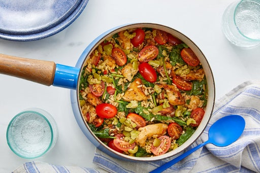 One-Pot Chicken & Creamy Spinach Rice with Olives & Marinated Tomatoes