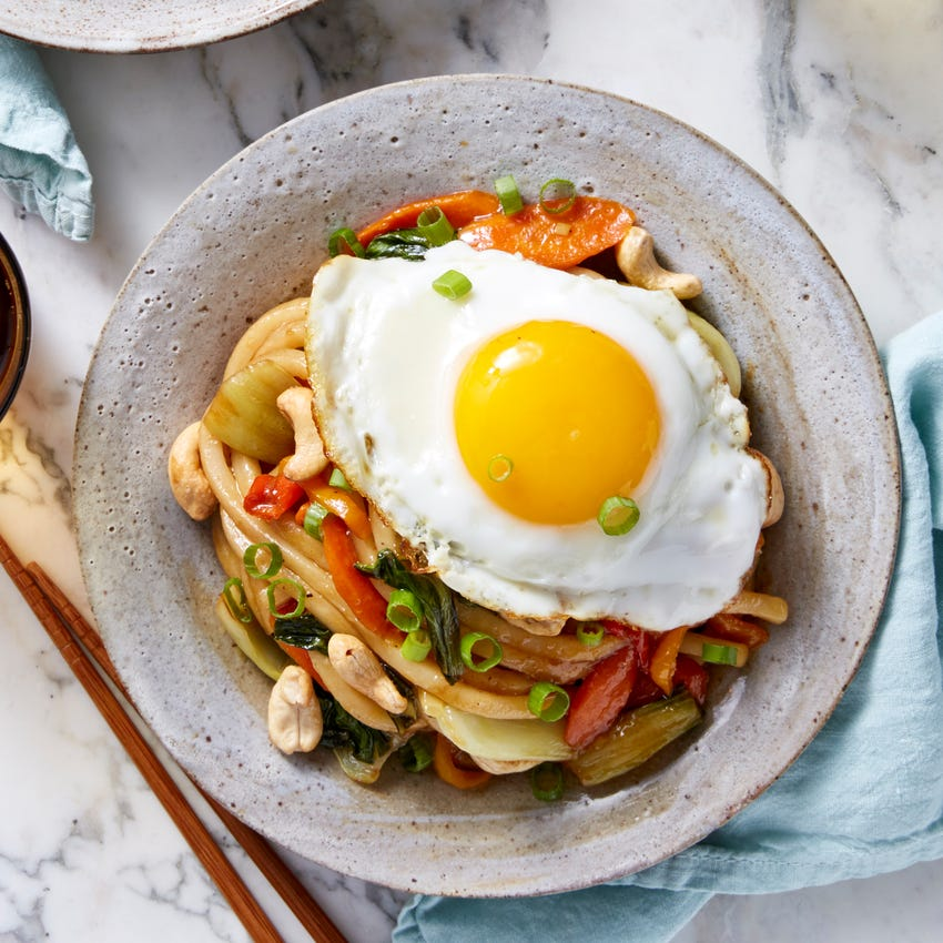 Bok Choy & Sweet Pepper Lo Mein with Fried Eggs & Cashews