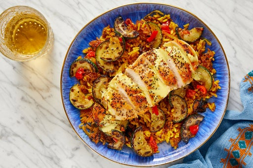 Seared Chicken & Crispy Shawarma Rice with Zucchini & Saffron Mayo