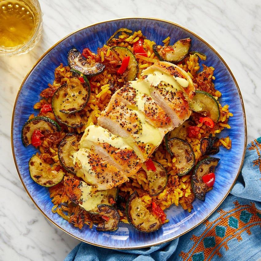 Seared Chicken & Crispy Shawarma Rice with Zucchini & Saffron Mayo