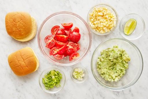 Prepare the ingredients & mash the avocado: