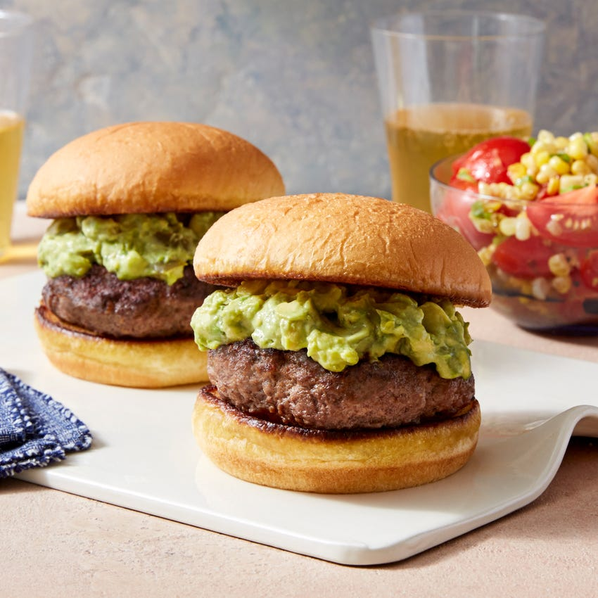 Avocado Burgers with Tomato & Corn Salad