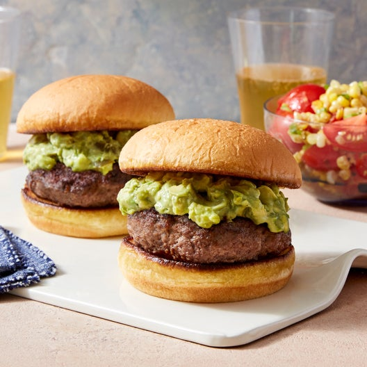 Avocado Burgers with Tomato & Corn Salad