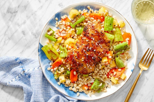 Orange & Soy-Glazed Cod with Barley, Vegetables & Marinated Persimmon