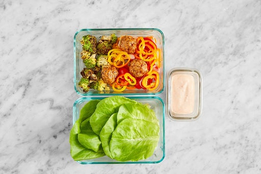 Assemble & Store the Turkey Meatball Lettuce Cups