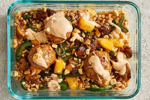 Finish & Serve the Turkey Meatballs & Farro